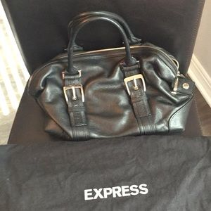 Express black leather purse